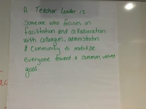 "ECET-2 attendees brainstorm definitions for ""teacher leadership""."