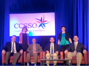 State Teachers of the Year participating in CCSSO's State Consortium on Educator Effectiveness in Atlanta, GA. From left, Ian Salzman (NV), Jennifer Dorman (ME), Mohsen Ghaffari (UT), Mark Mautone (NJ), Lori Michalic (OH), and Jonathan Crossley (AK).