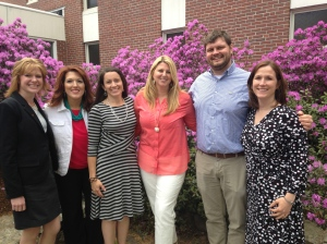 Giving back together: Jennifer Dorman (MTOY 2015), Shannon Shanning (MTOY 2012), Sarah Reynolds (2015 Franklin CTOY, Gloria Noyes (MTOY 2009), Jeff Bailey (2015 Oxford CTOY), and Shelly Moody (MTOY 2011).